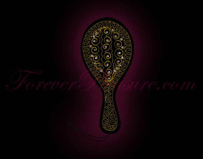 Jeweled Leather Paddle - Gold